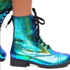 Mermaid Oil Slick Combat Boots Lace Up BNIB